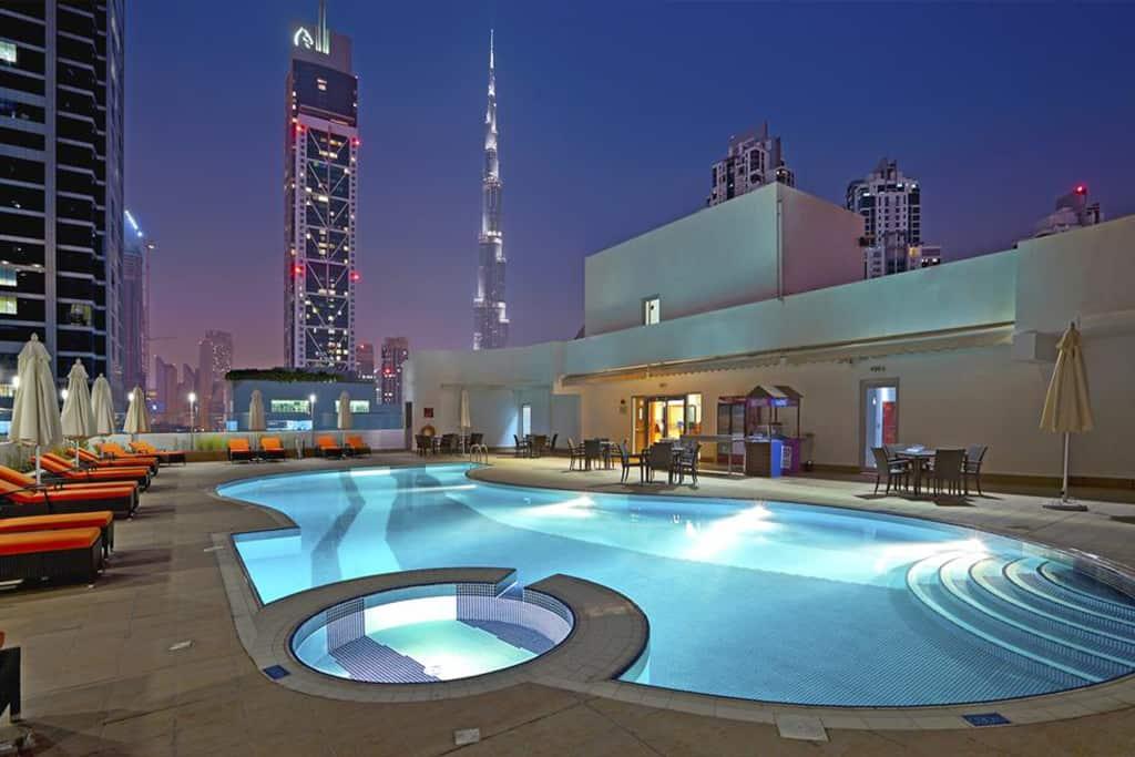 Swimming pool with Burj Khalifa view