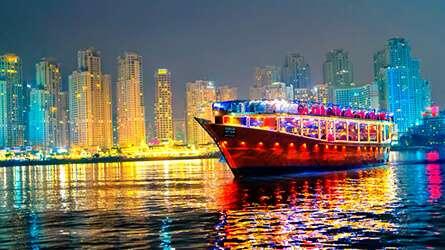 Cruising in dubai marina water canal